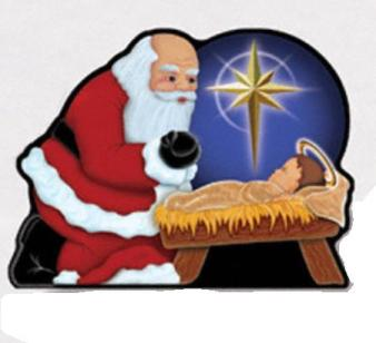 Santa Bowing to Baby Jesus Yard Ornament: This Heart-Warming Scene Of Santa Leaning Over Baby Jesus Is Sure To Remind All Who See It The True Meaning Of Christmas.