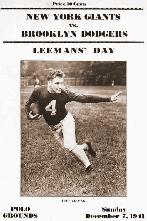 December 7, 1941: The Day Honoring Wisconsin-Born New York Giants Star Tuffy Leemans at the Polo Grounds