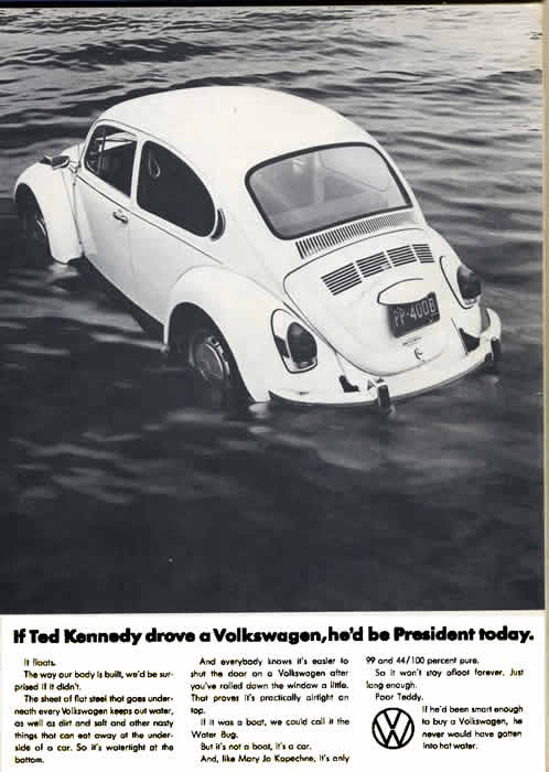The 1972 National Lampoon Ted Kennedy Volkswagen Satire Advertisement