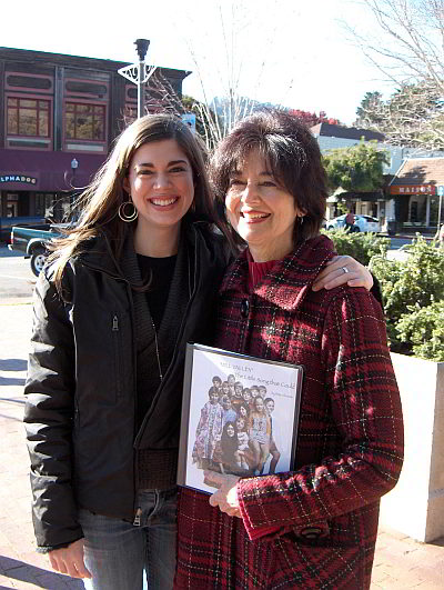 Rita Abrams and daughter Mia Antonelli were in a group that gathered in the downtown Mill Valley Christmas day to mark her song's 40th anniversary
