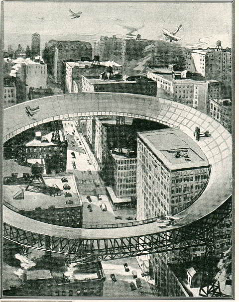 Elevated Rooftop Inner-City Circular Airport 1919