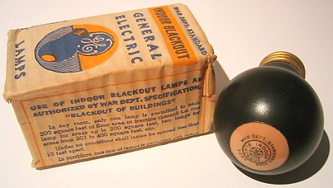 World War II General Electric Indoor Blackout Bulb