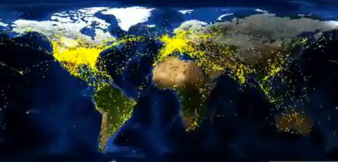YouTube Video: World Air Traffic in a 24 Hour Period