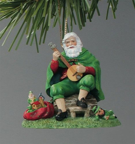 Green Irish Santa Playing A Banjo