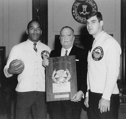 A 1967 Photo of OJ Simpson, J. Edgar Hoover and Larry Csonka