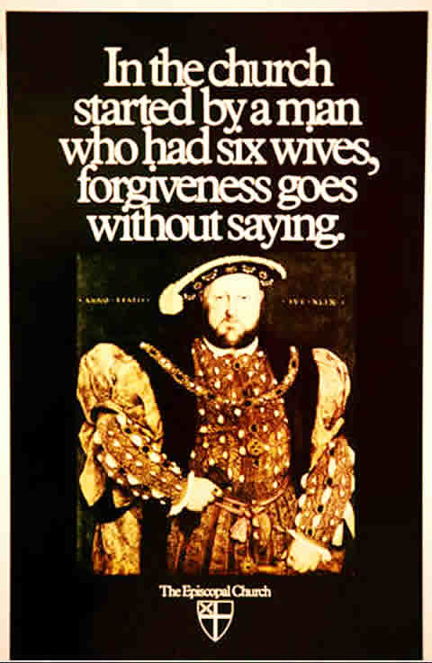 1986 Ad For The Episcopal Church: In The Church Started By A Man Who Had Six Wives, Forgiveness Goes Without Saying