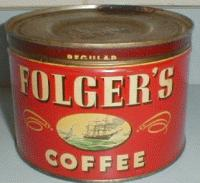 An Old Key Wind Folgers Coffee Can
