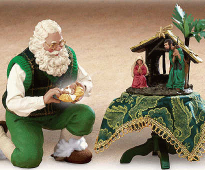 A Green Irish Santa Holds The Little Baby Jesus For Mary And Joseph